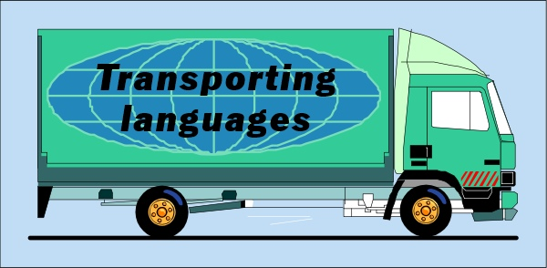 Image of truck bearing the logo Transporting Languages